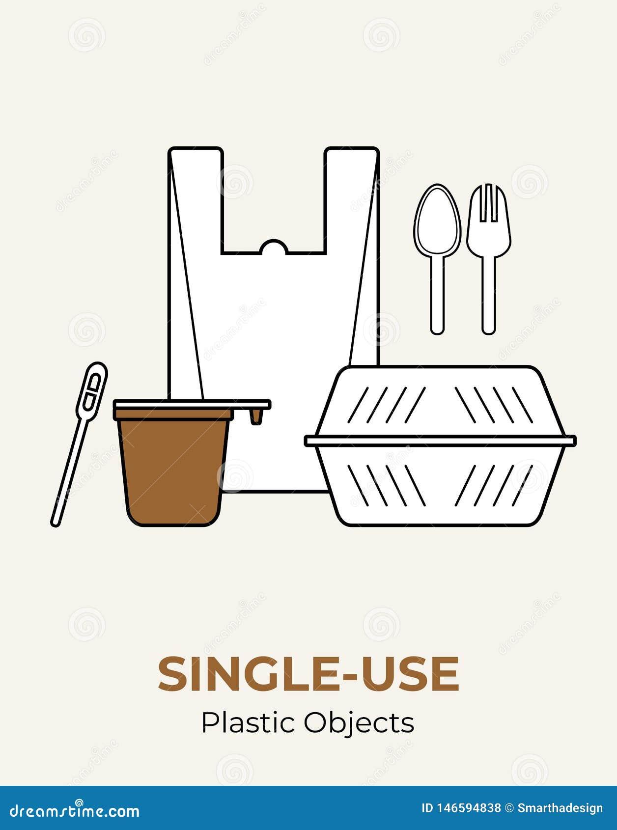 Envase de comida plástico, bolso, taza, cuchara, bifurcación, agitador Sistema pl?stico blanco no reutilizable del ejemplo del ve