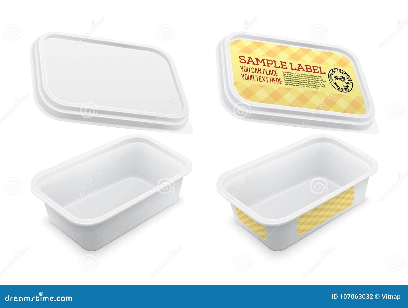 Envase Vacío Cuadrado Etiquetado Vector Plantilla De Empaquetado ...