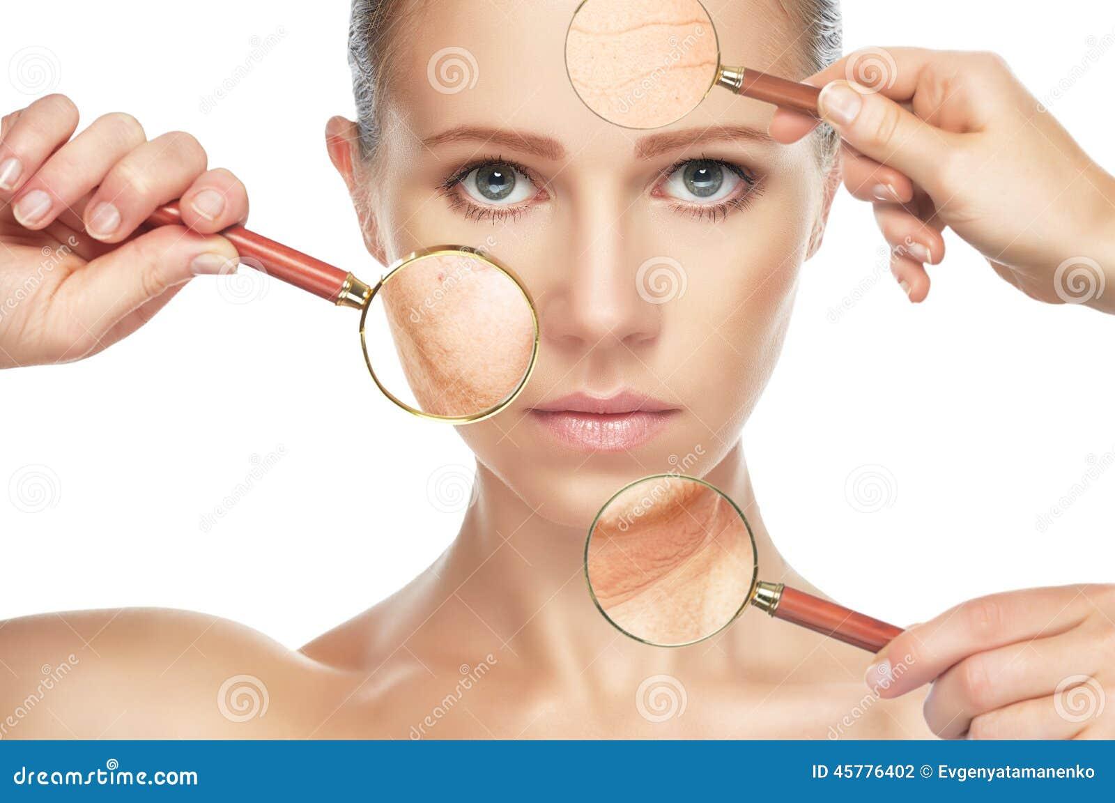 Envejecimiento de la piel del concepto de la belleza procedimientos antienvejecedores, rejuvenecimiento, levantando, ajuste de la