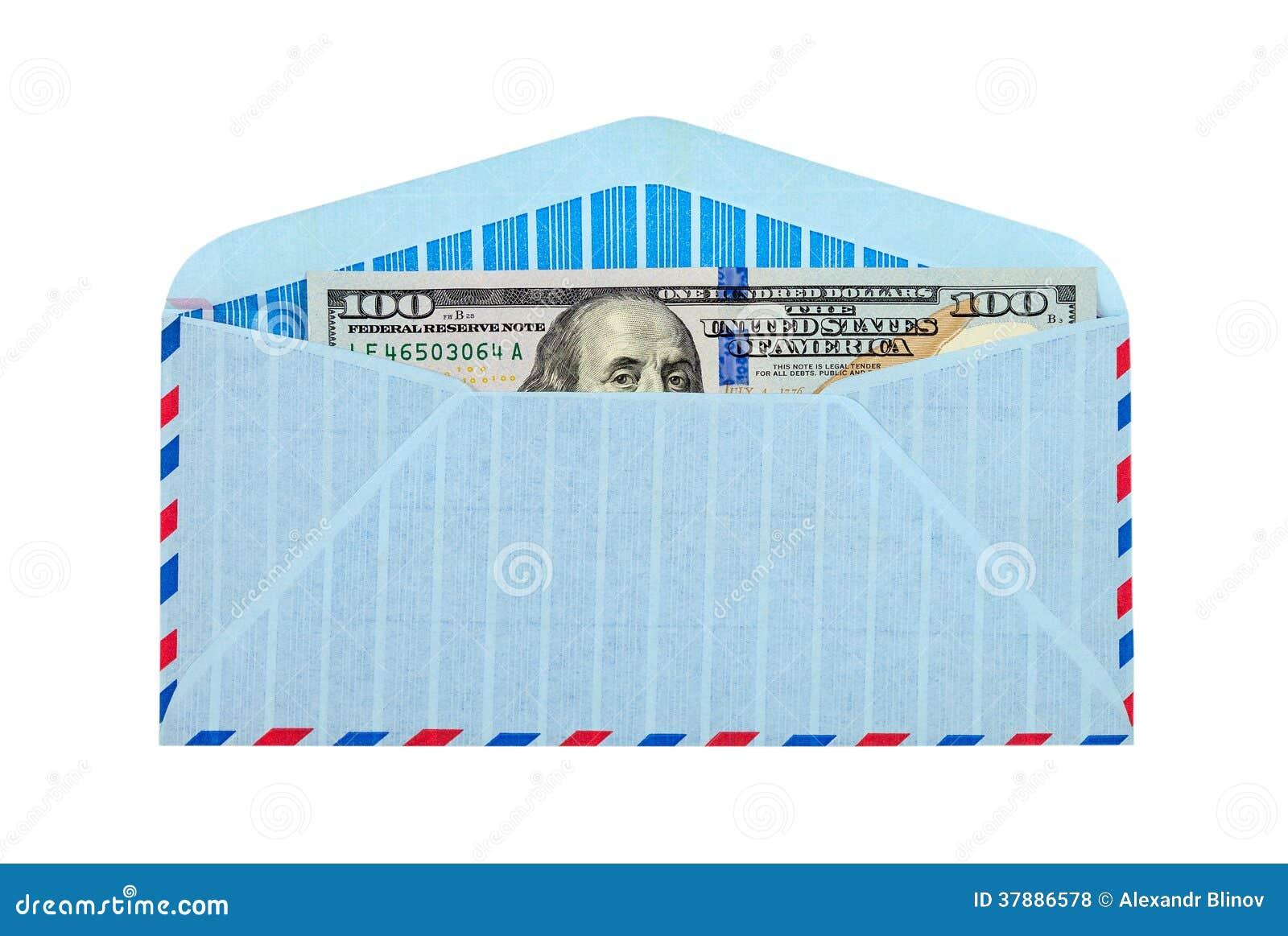 Envelop met contant geld in dollars