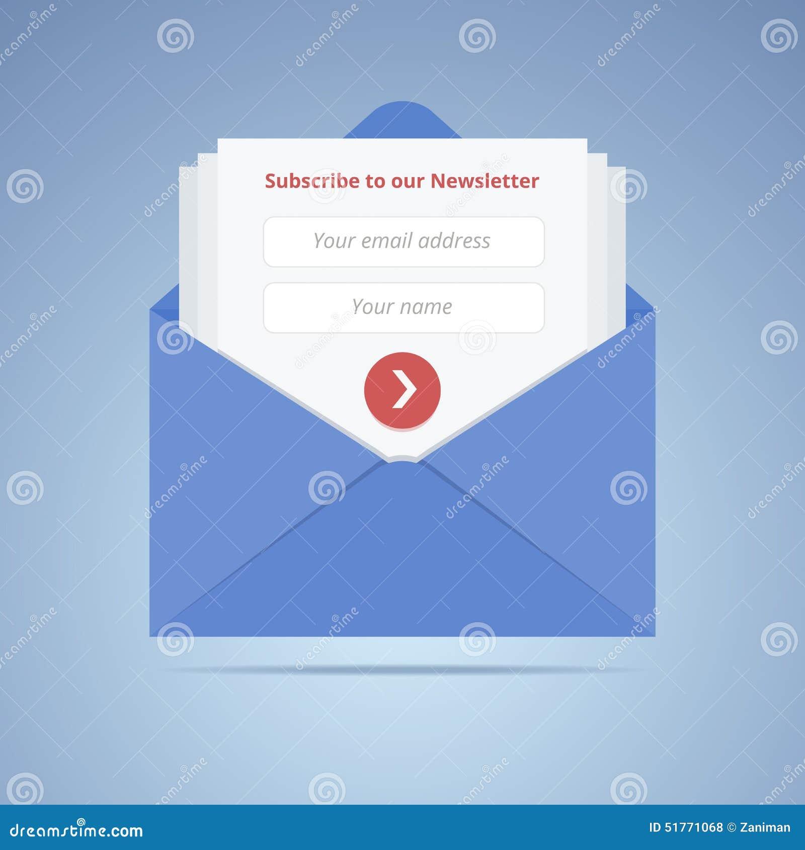 Envelope azul com formulário de assinatura no estilo liso