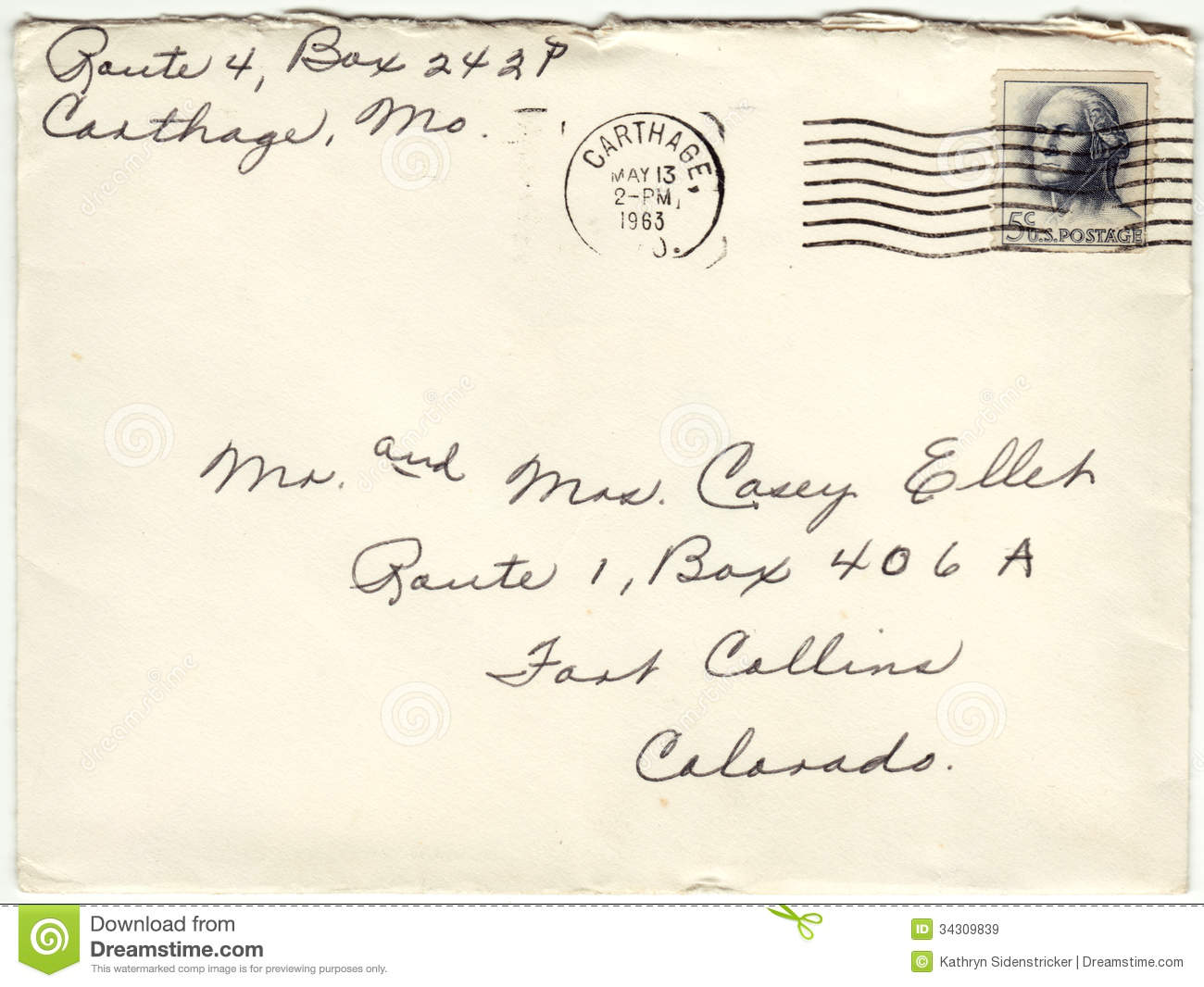 1963 envelope cancelled postage letter