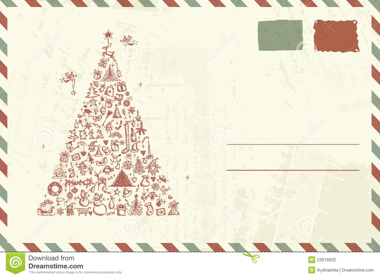 envelope with christmas sketch stock illustration image