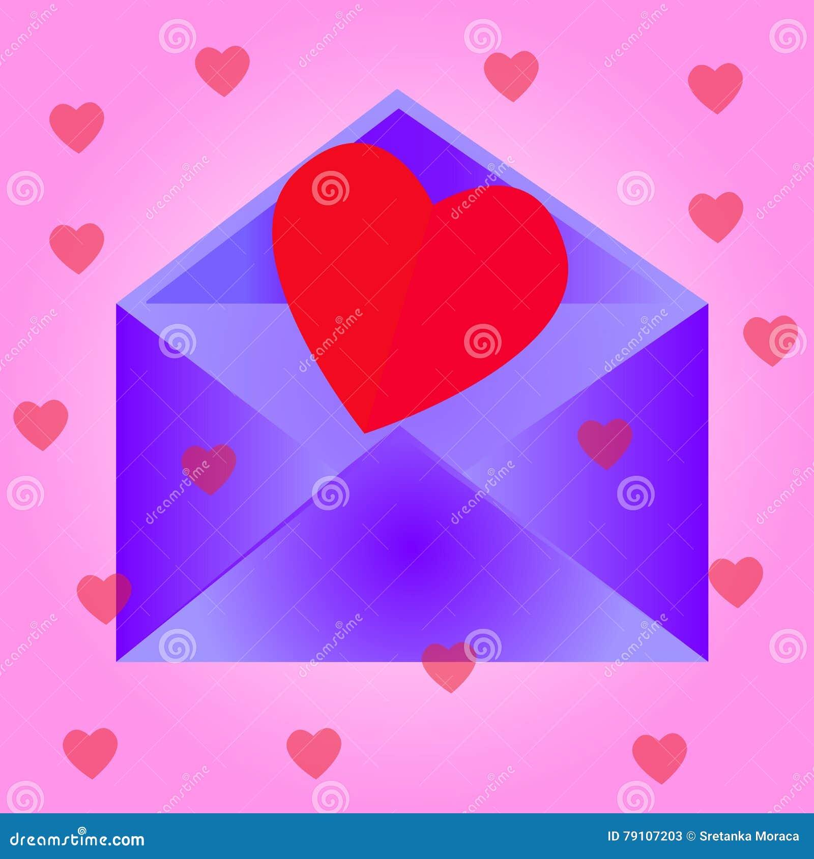 Envelope com coração, fundo cor-de-rosa