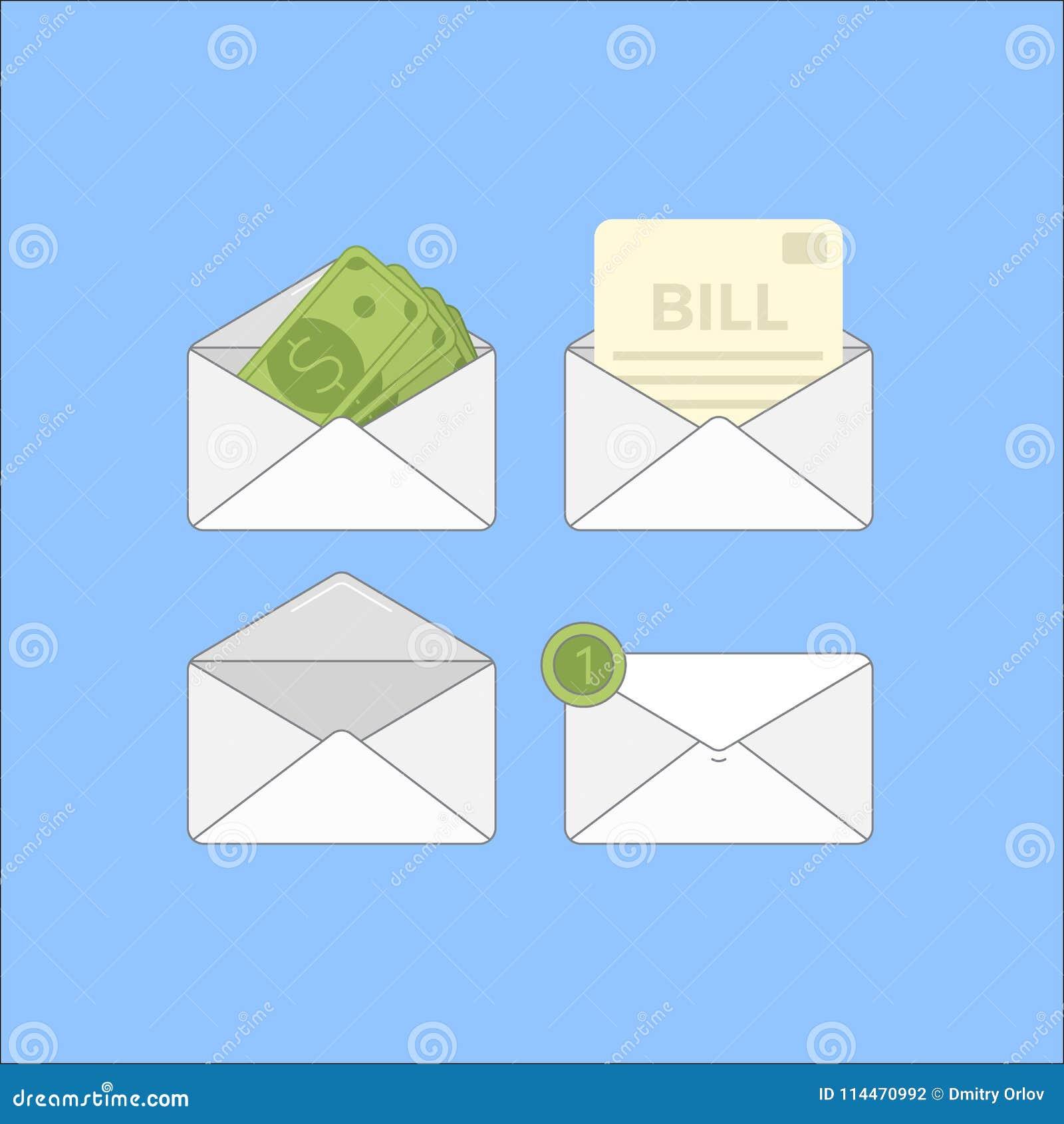 Envelope com dinheiro e contas Grupo liso de ícone do correio de 4 finanças