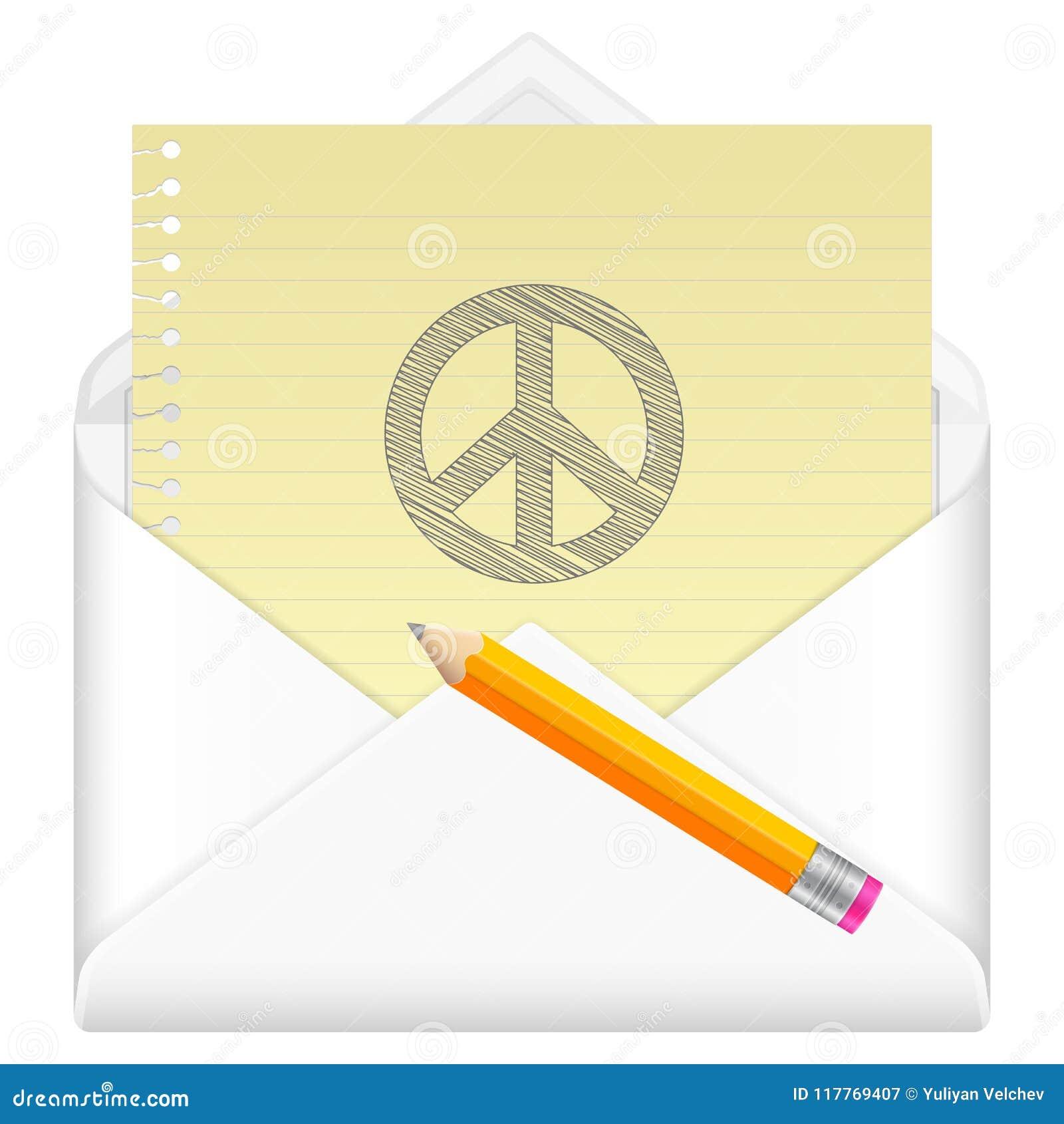 Envelope Com Simbolo De Paz Do Desenho Ilustracao Do Vetor