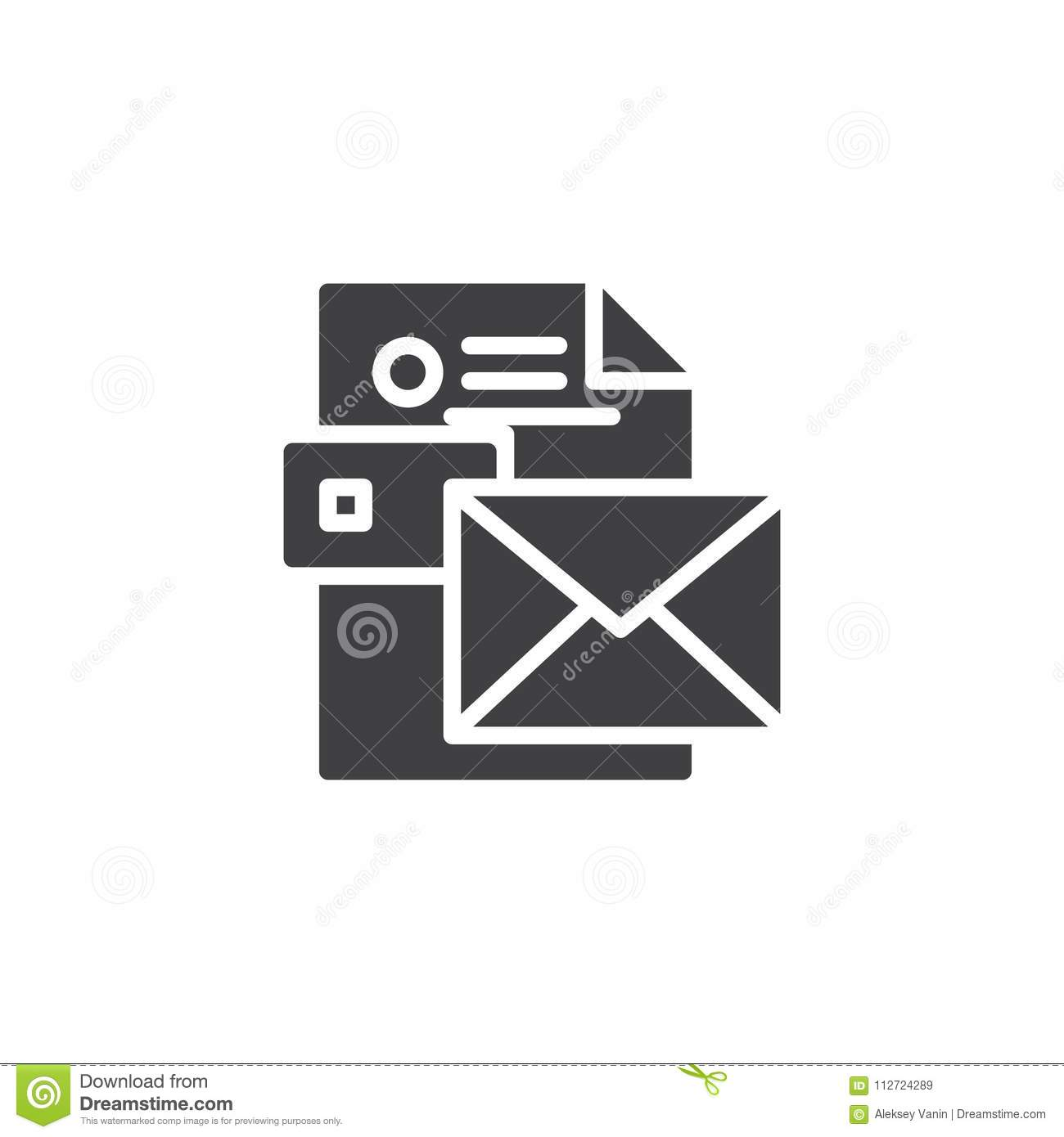 Envelope With CV Resume Vector Icon Stock Vector - Illustration of ...