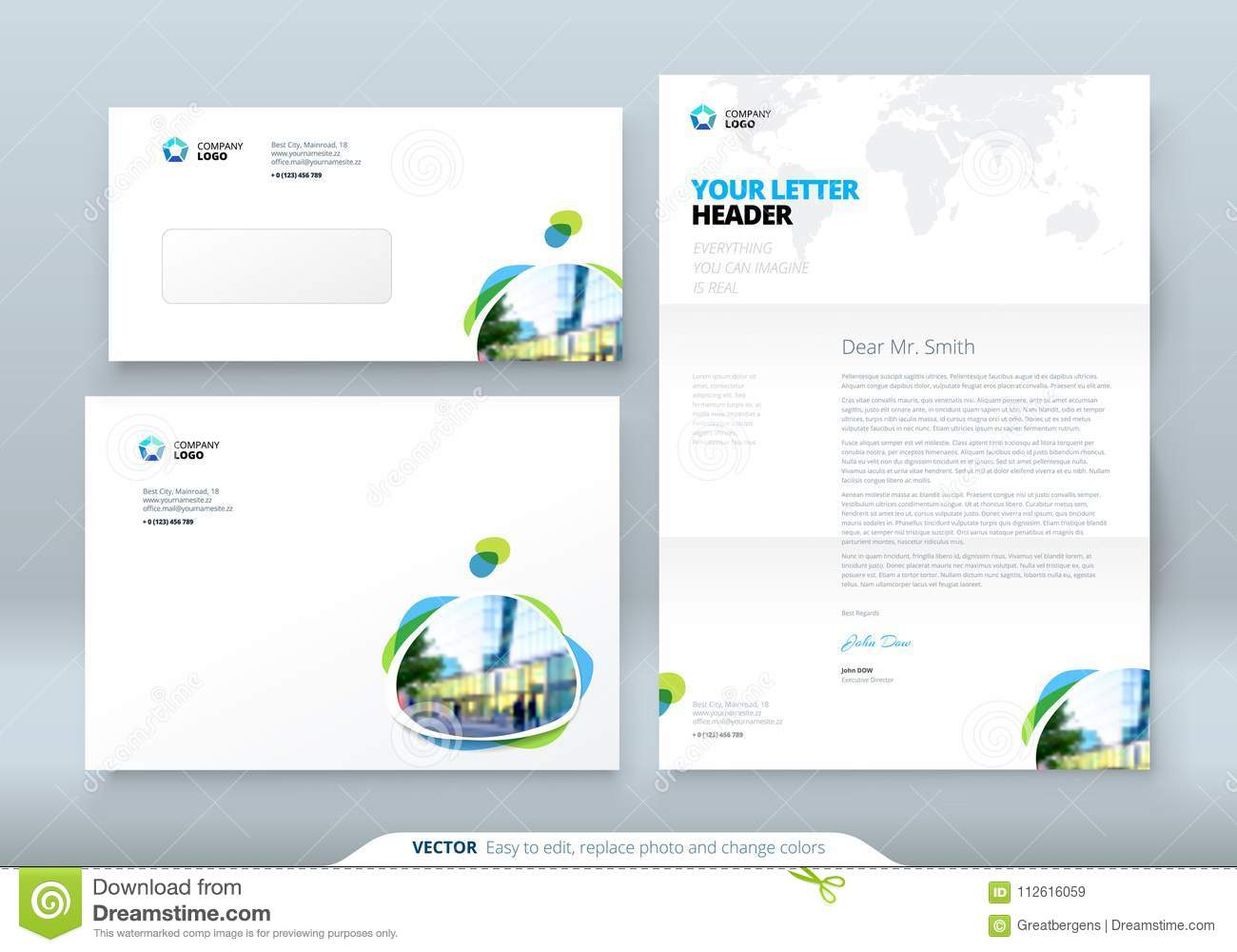Envelope DL, C5, Letterhead. Corporate Business Template For ...