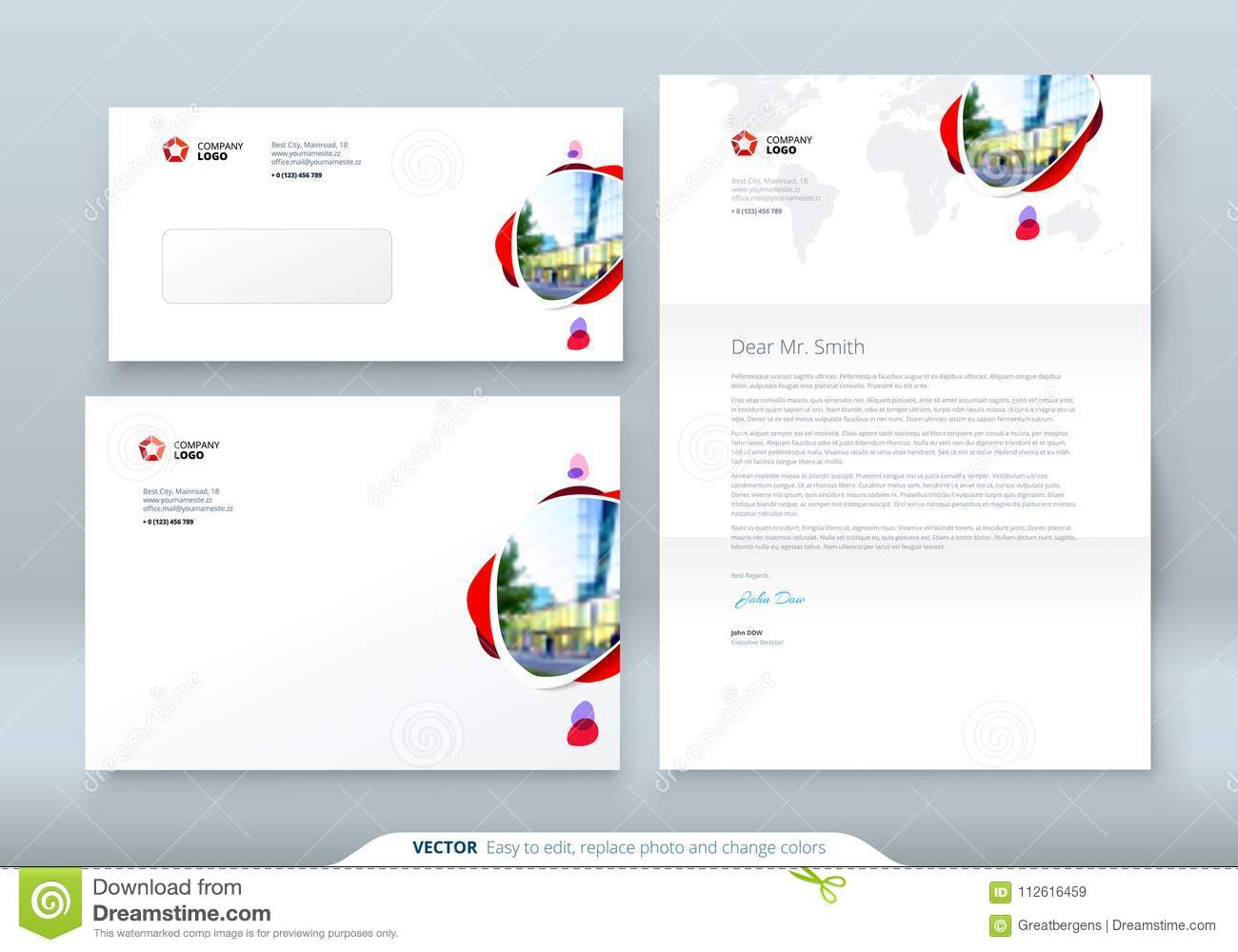 envelope dl c5 letterhead corporate business template for envelope and letter layout