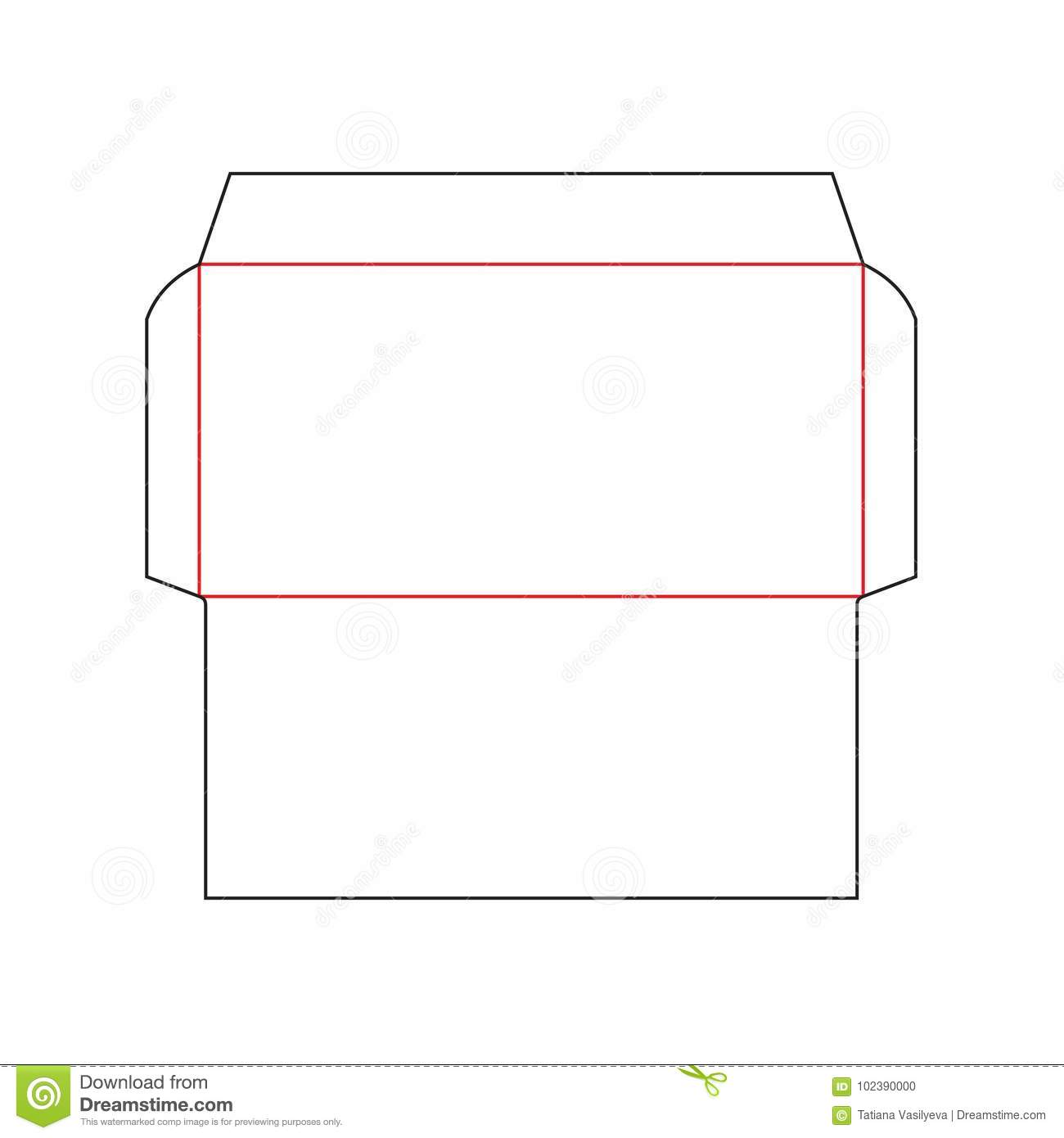 Envelope DL size template stock vector. Illustration of layout ...