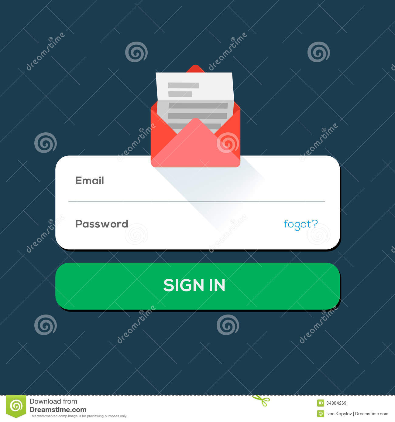 Envelope e-mail Flat icon, with log in button