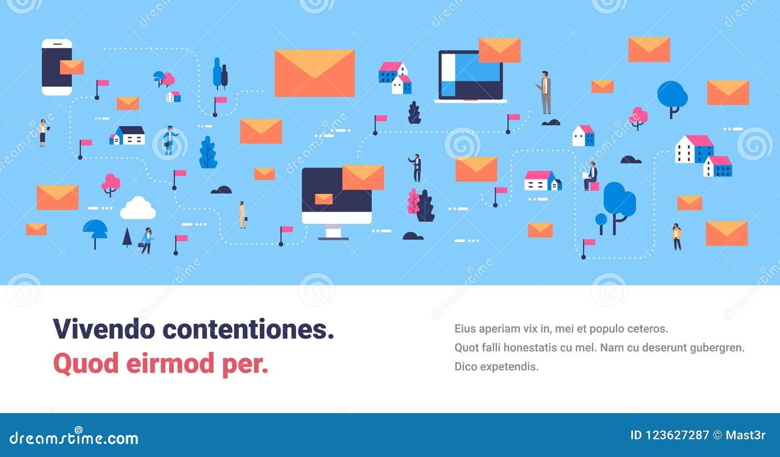 Envelope em linha móvel do correio do conceito isométrico do mapa de uma comunicação dos povos do mensageiro da aplicação informá