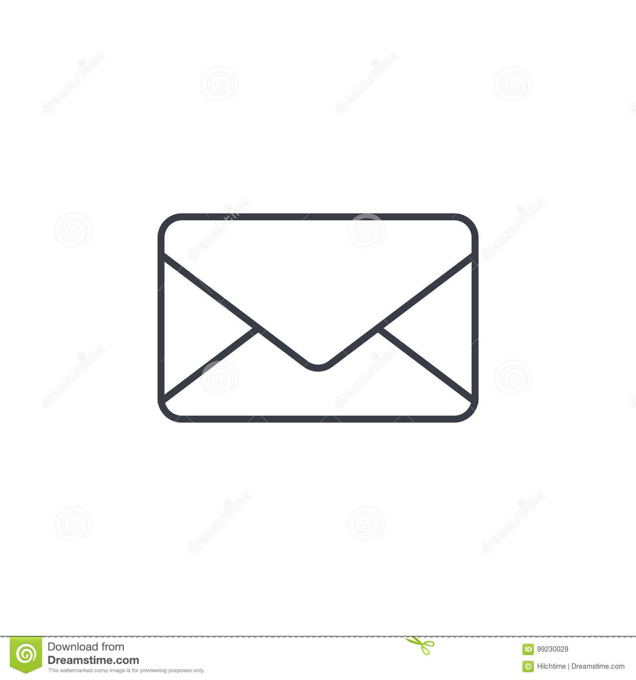 Envelope, email letter, mail thin line icon. Linear vector symbol