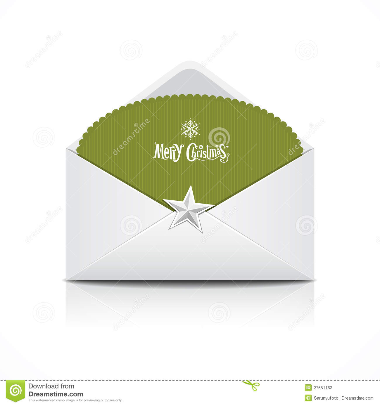 Envelope and green card merry christmas