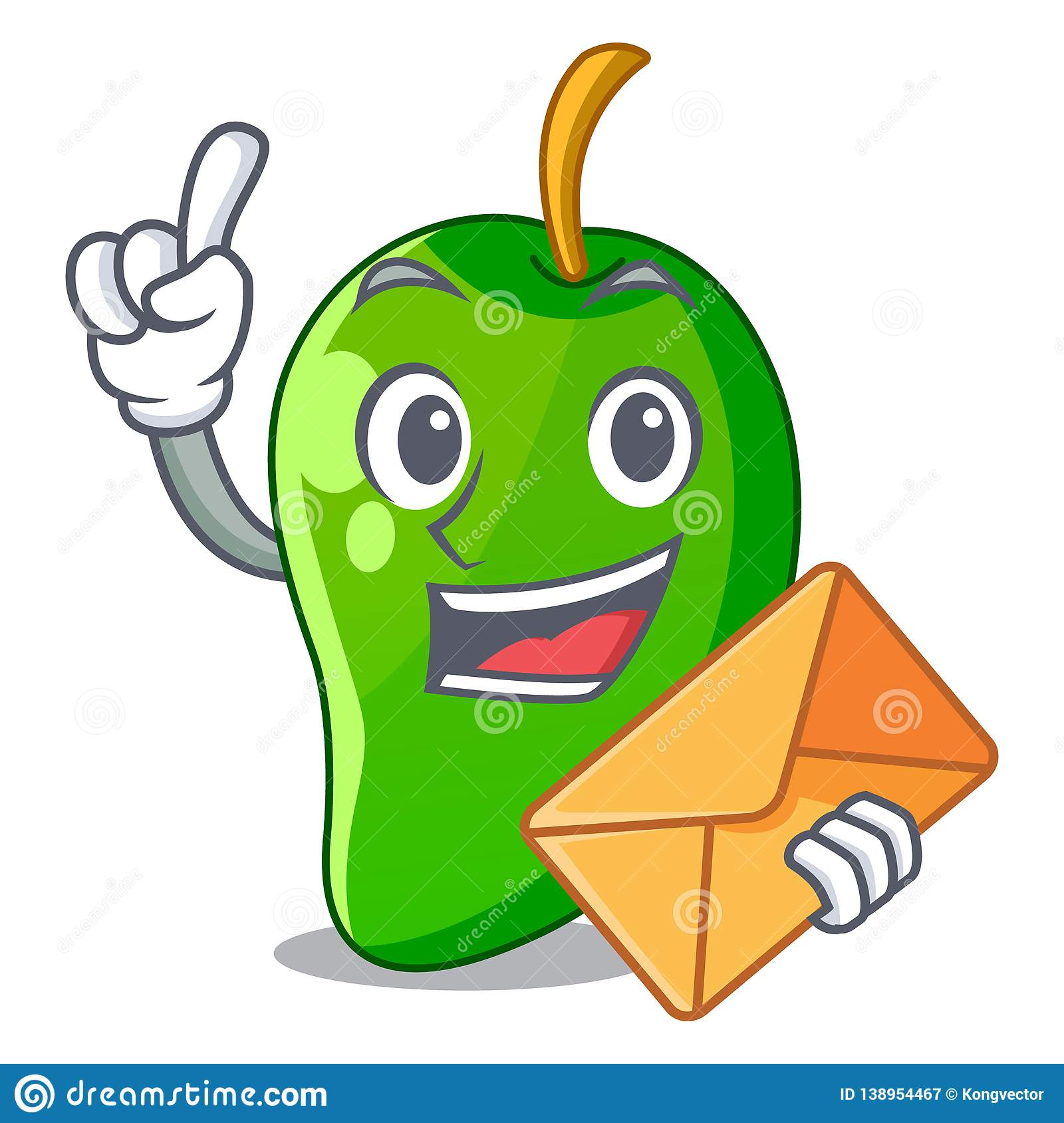 With envelope green mango slices in the character