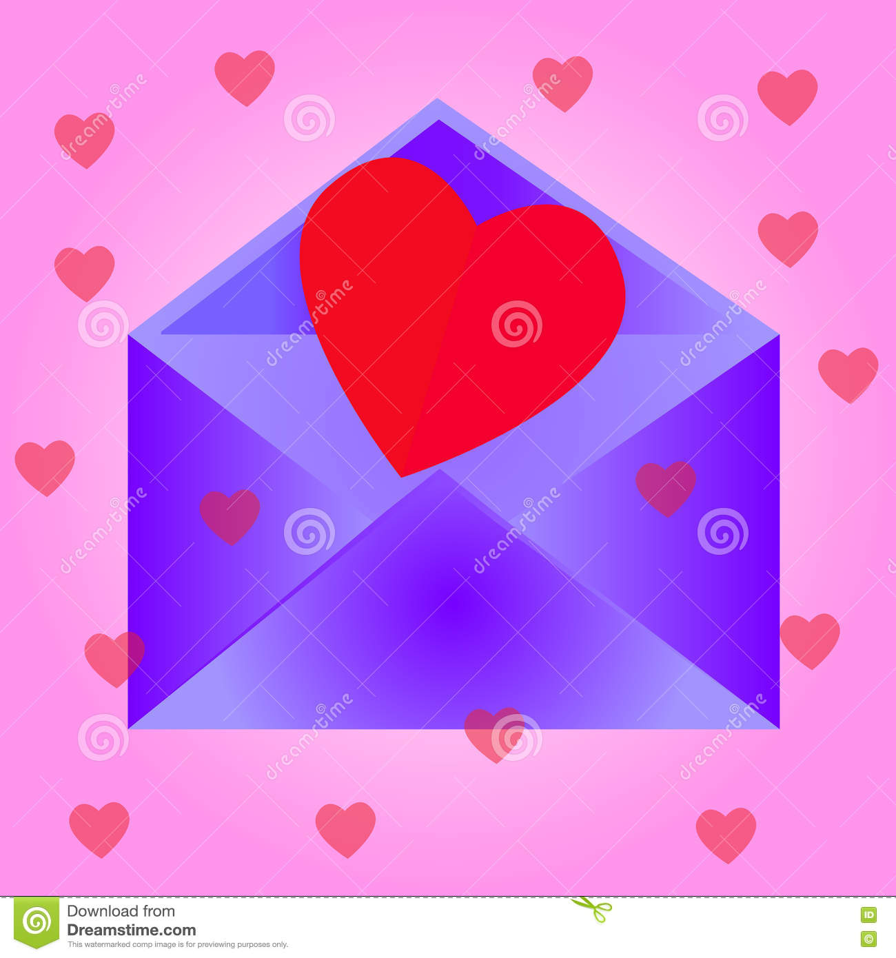 Envelope with heart, pink background.