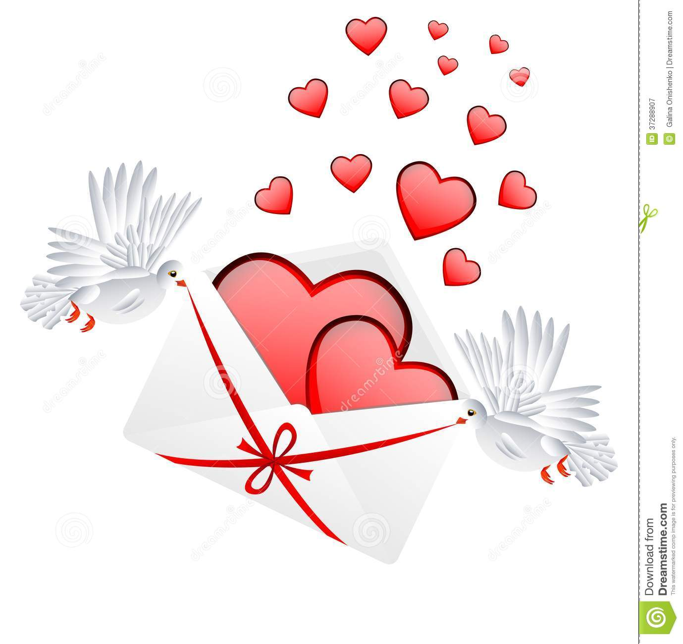 envelope with hearts to the day of saint valentin stock. Black Bedroom Furniture Sets. Home Design Ideas