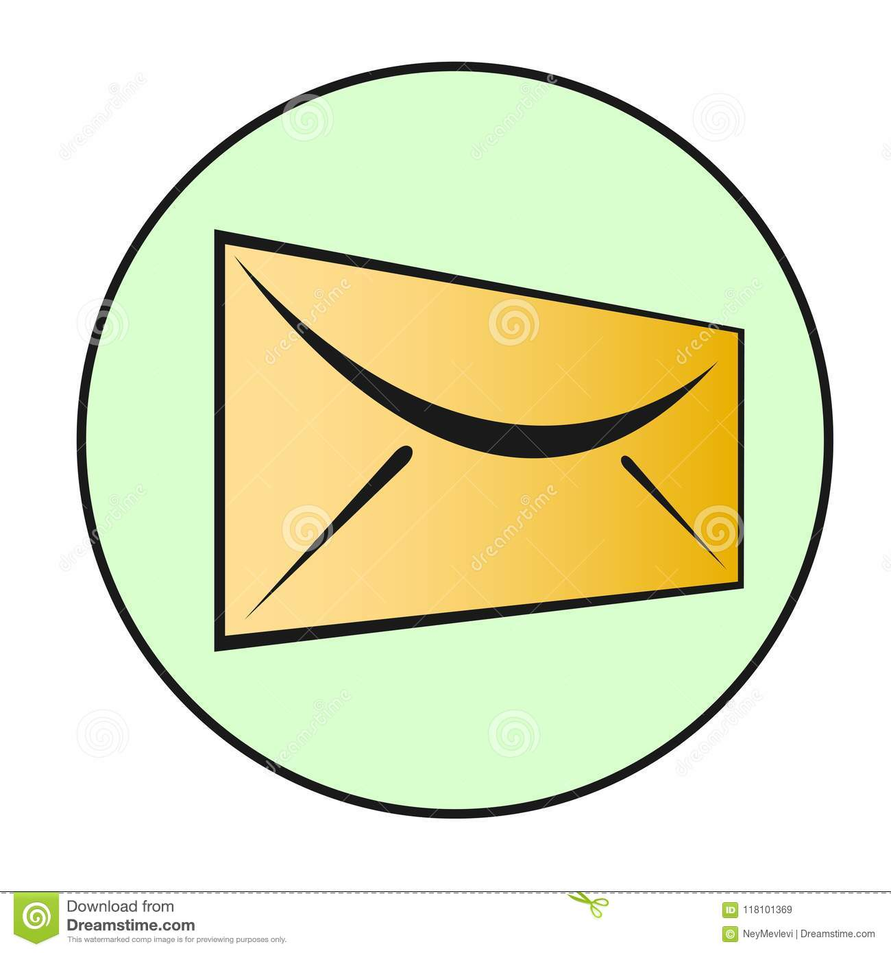 Envelope icon for button or symbol