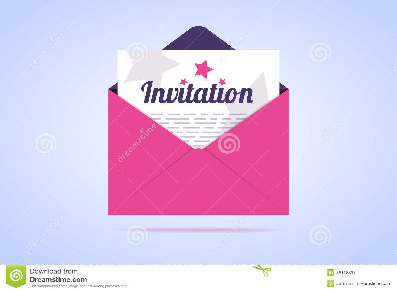 Envelope With Invitation Letter Stock Vector Illustration Of Card