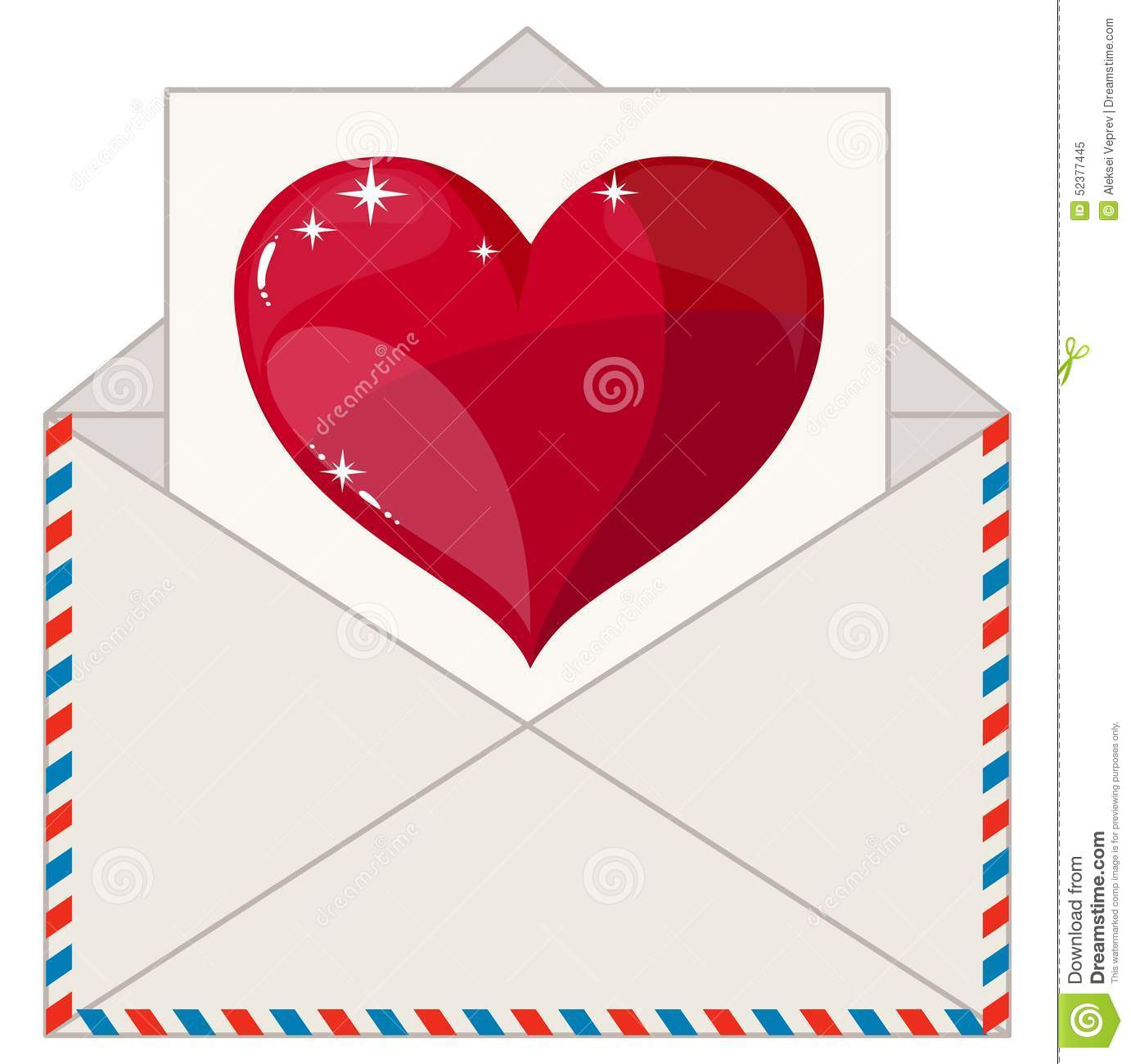 Envelope With A Letter In The Form Of Valentines Stock