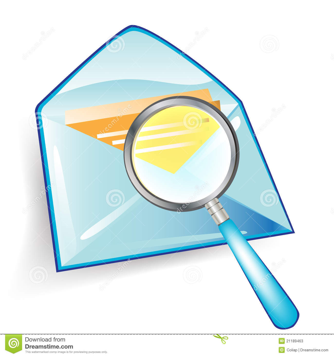 Envelope with magnifying glass