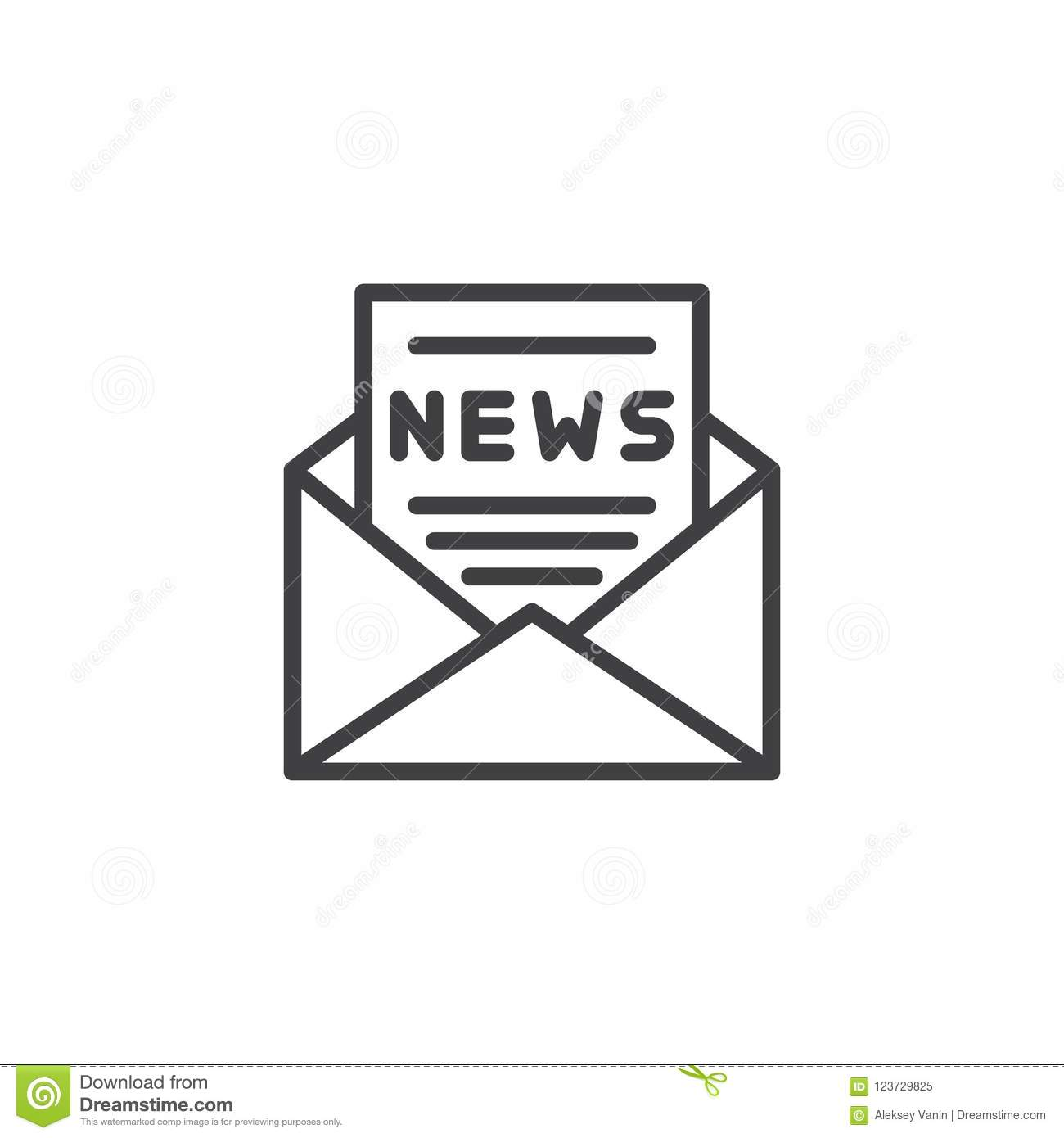 Download Envelope With News Paper Outline Icon Stock Vector