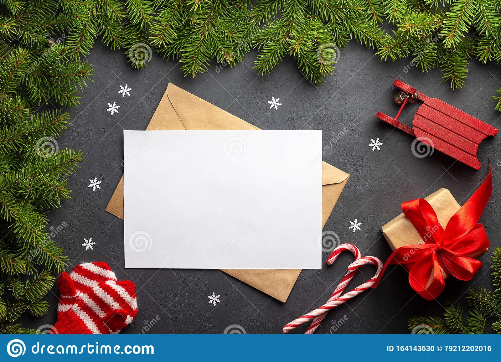 Envelope, paper card for letter and xmas decoration. Mockup for Merry Christmas or Happy New Year.