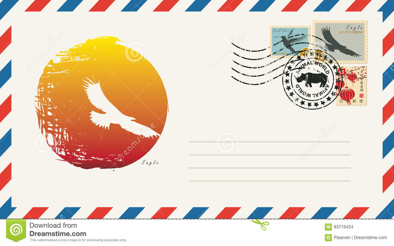 Envelope With A Postage Stamp With Eagle Stock Vector
