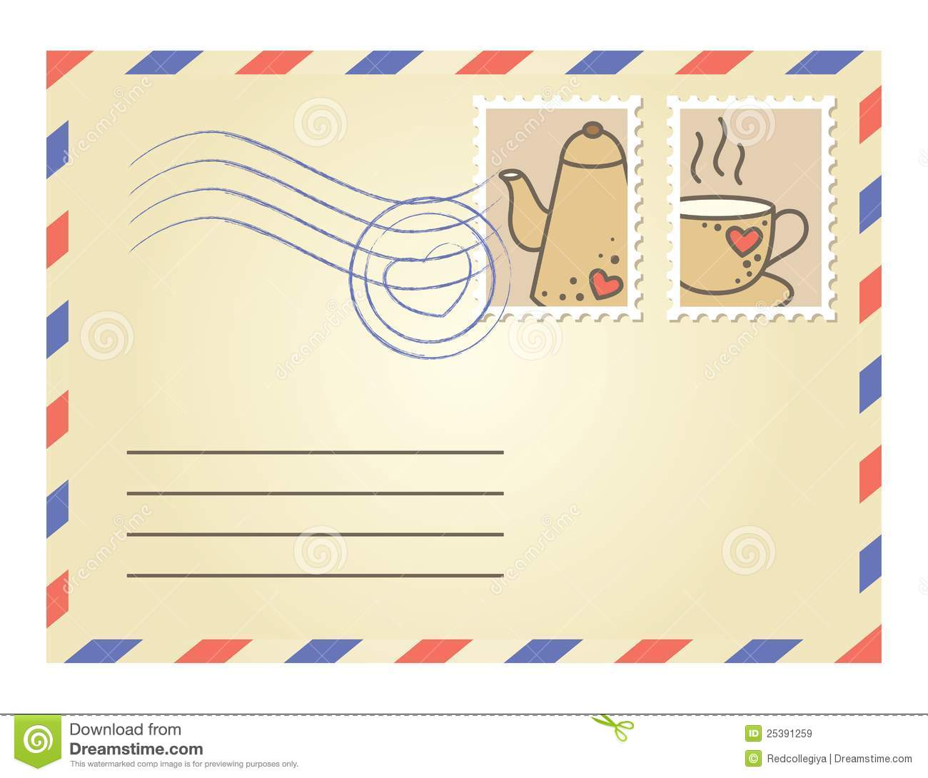Envelope With Postage Stamps Royalty Free Stock Images