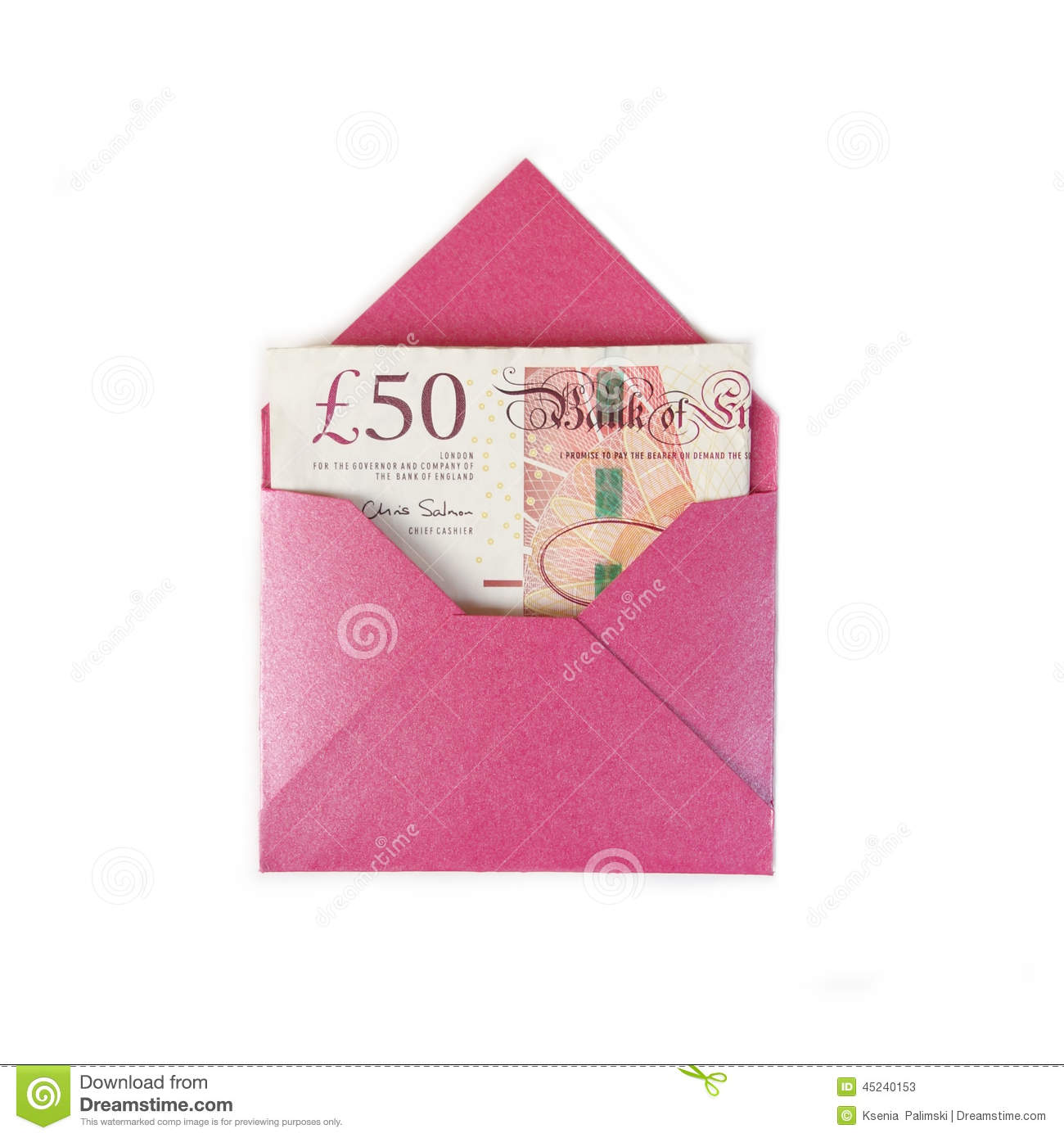 Envelope with 50 pounds