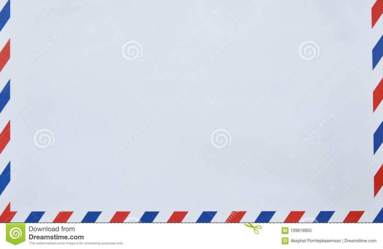 Envelope with red and blue on border in white background