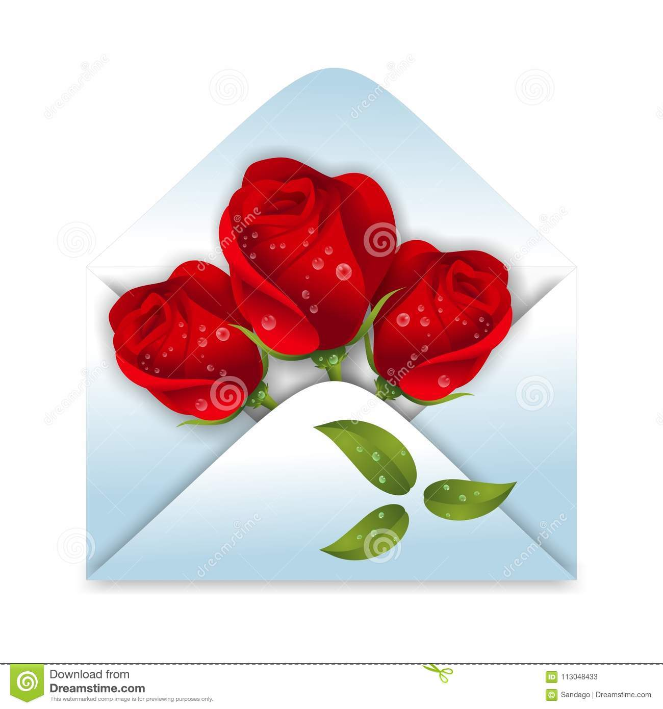 Envelope with roses