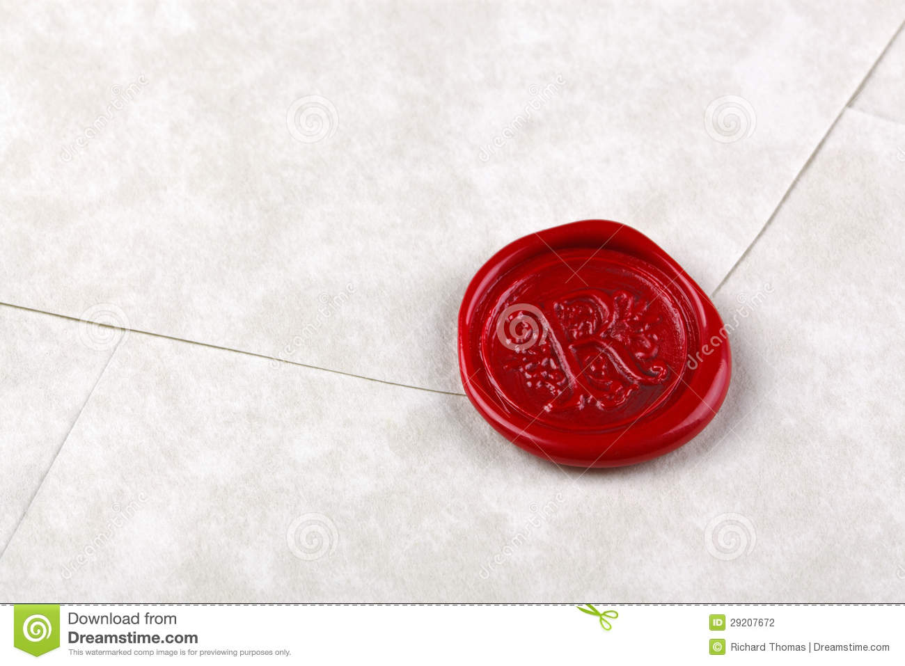 envelope sealed with a red wax seal stock photo 29207672 megapixl