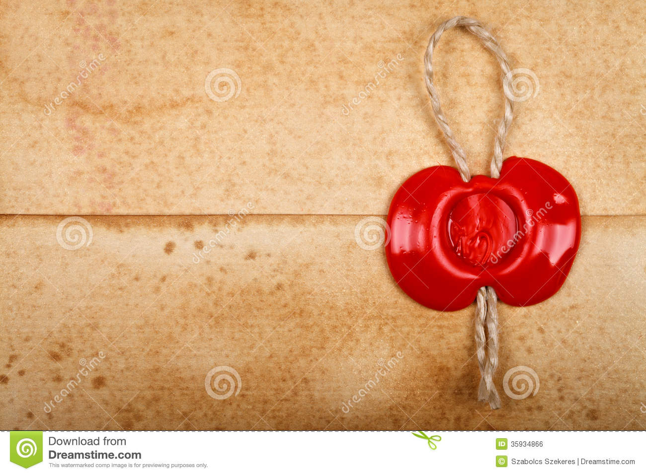 envelope with sealing wax stamp on it stock photo image