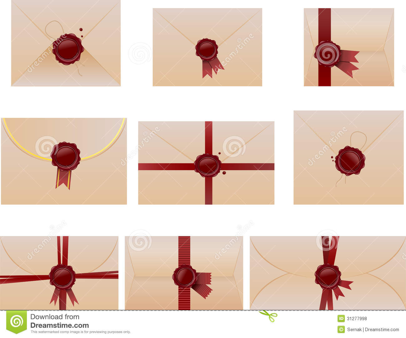 Envelope Set With Wax Seals Royalty Free Stock Photos - Image ...