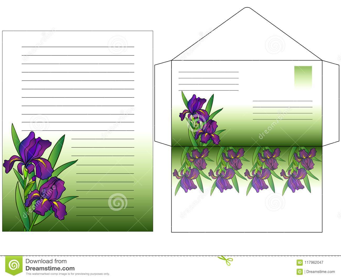 Envelope And A Sheet For Writing Letters Colored With Flowers Irises
