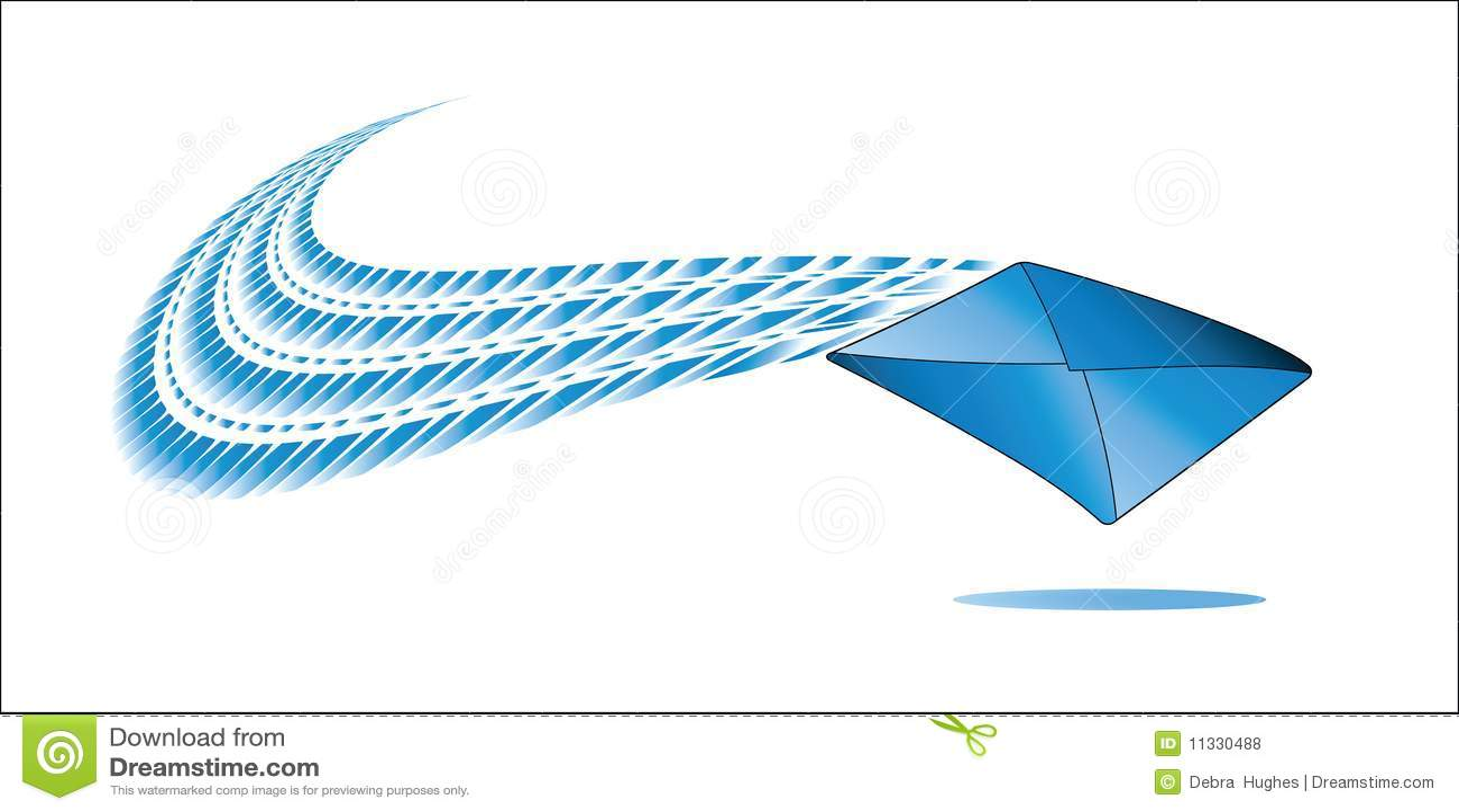 Envelope with swoosh