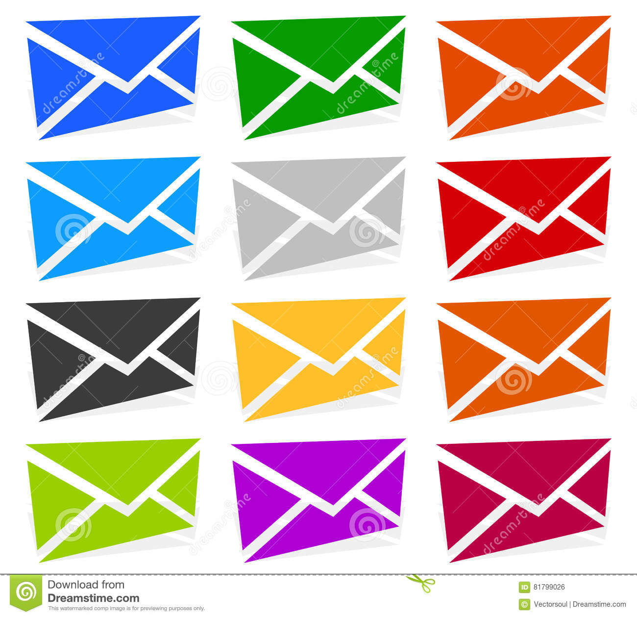 Envelope Symbols In 12 Colors As Contact Support Email Icons