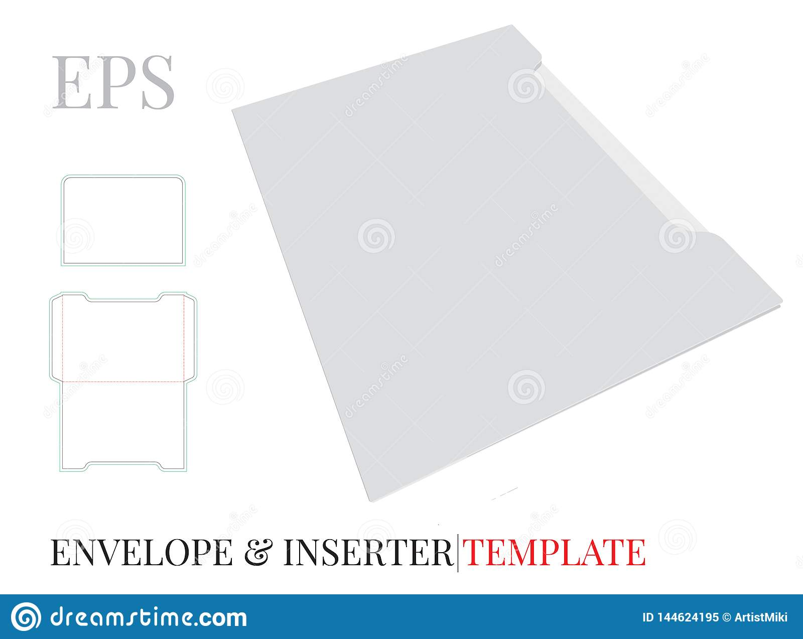 Envelope Template with die line, Vector with die cut / laser cut layers. White, clear, blank, isolated  Envelope mock up