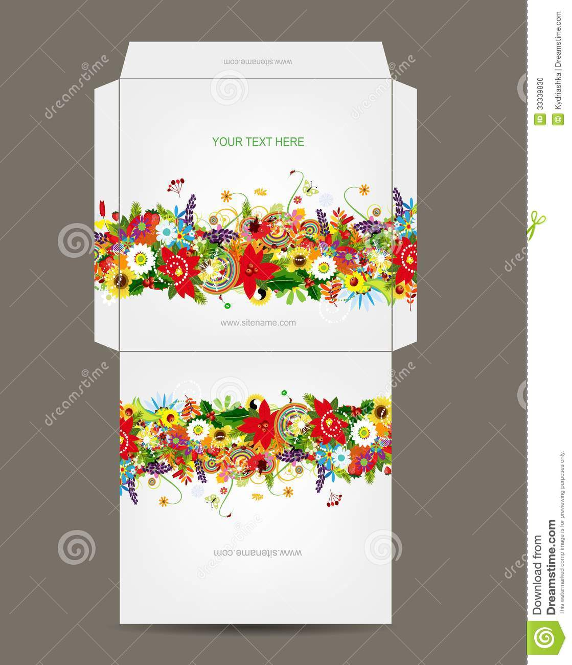 Envelope template, floral design. This is file of EPS10 format.
