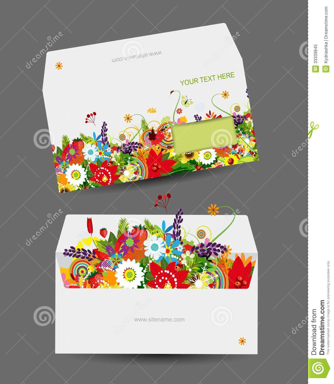 envelope template  floral design royalty free stock photo