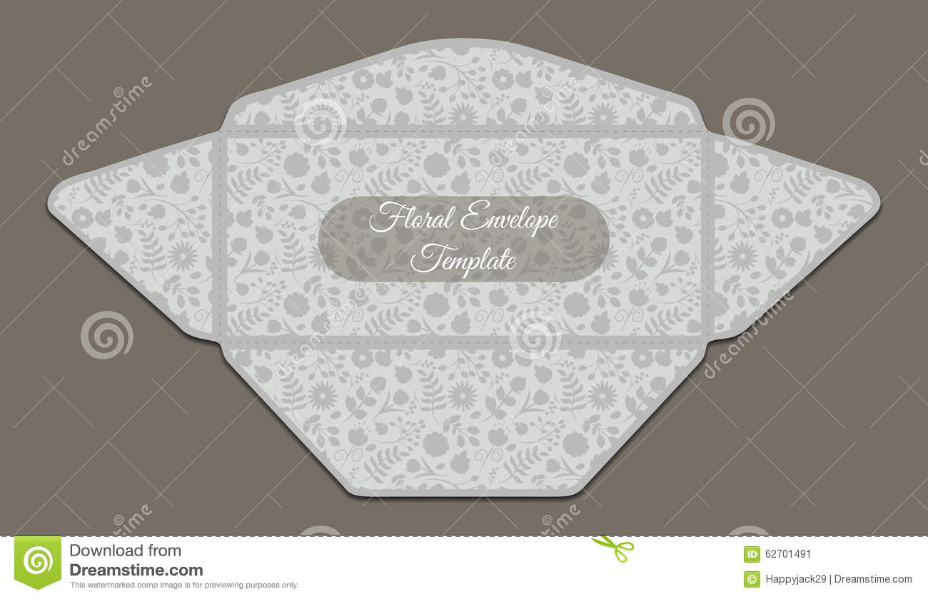 Envelope Template With Floral Pattern Stock Vector Image