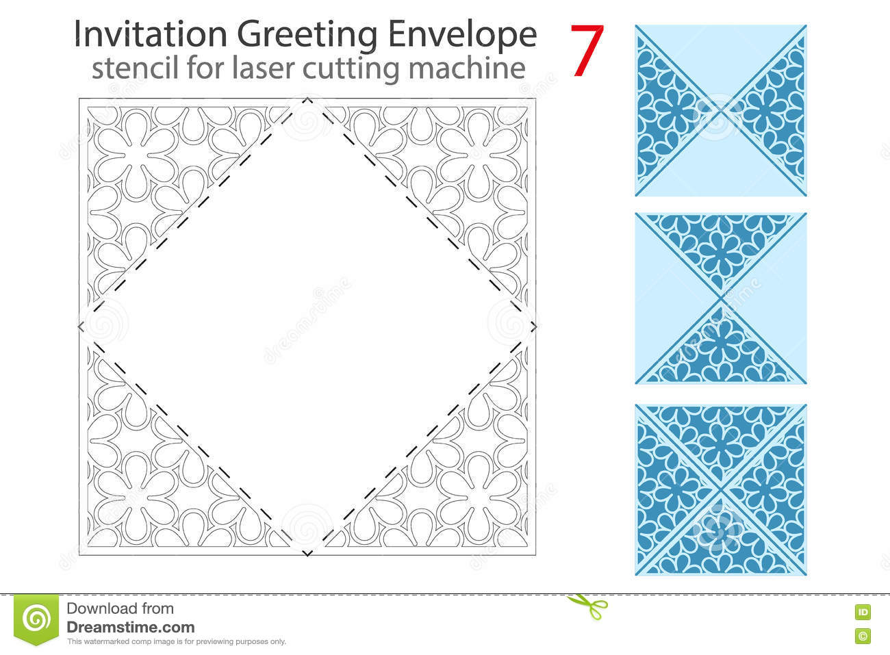 Envelope Template For Laser Cut Stock Vector Illustration Of Card