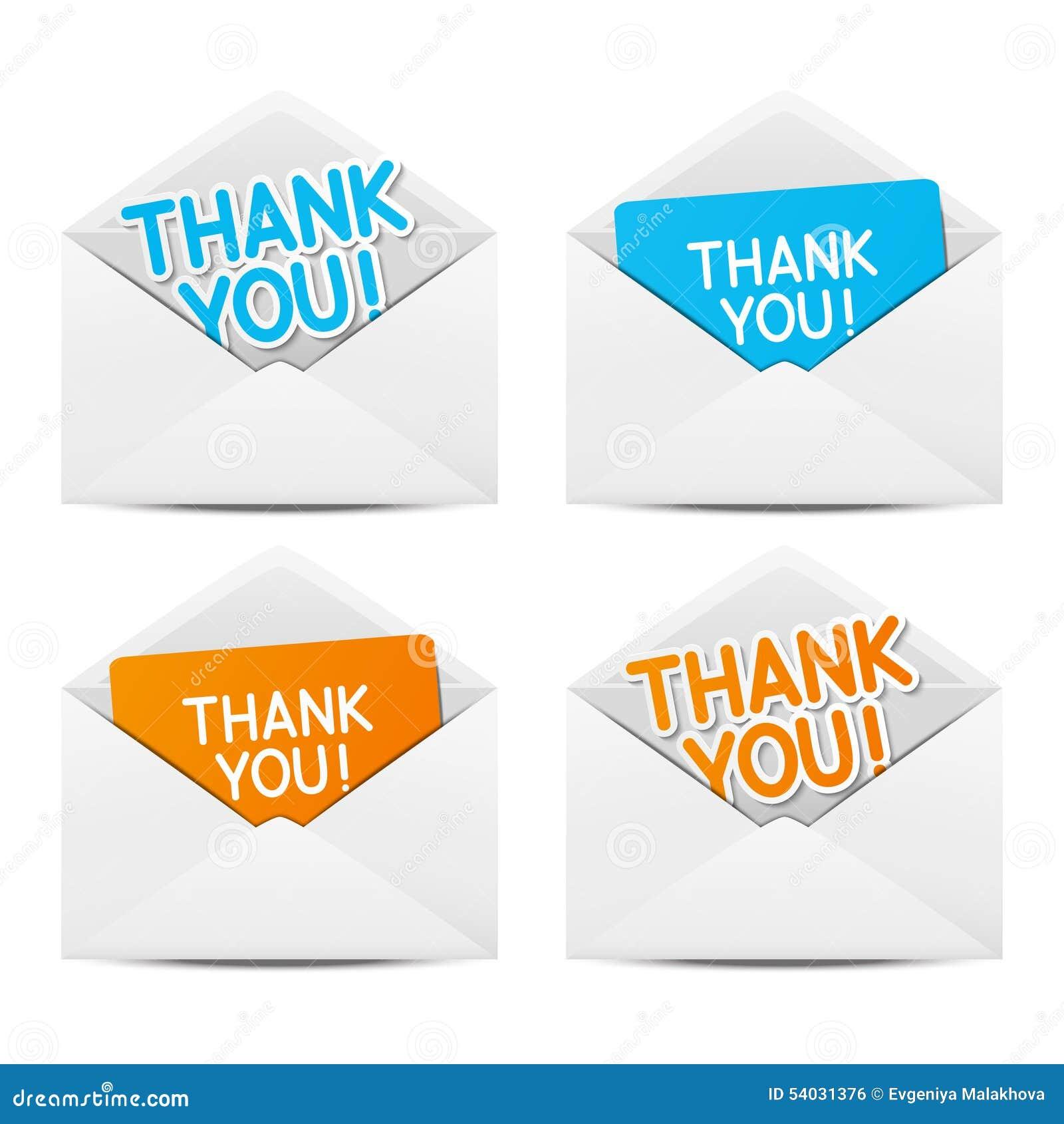 Envelopes de papel com agradecimentos