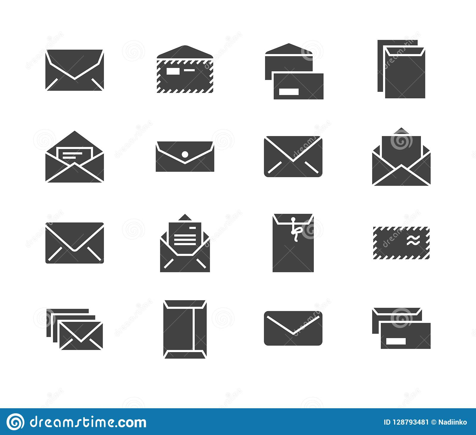 Envelopes Flat Glyph Icons Mail Message Open Envelope With Letter