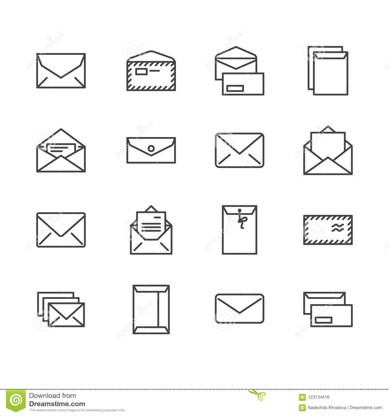 envelopes flat line icons mail message open envelope with letter email vector