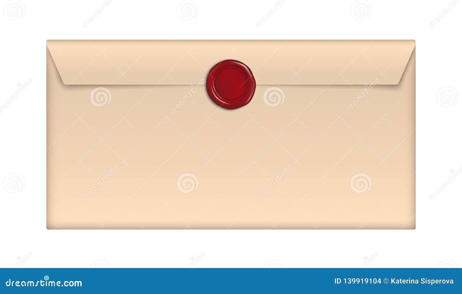 Enveloppe de papier brune de vecteur rétro avec le joint rouge de cire d isolement sur le fond blanc