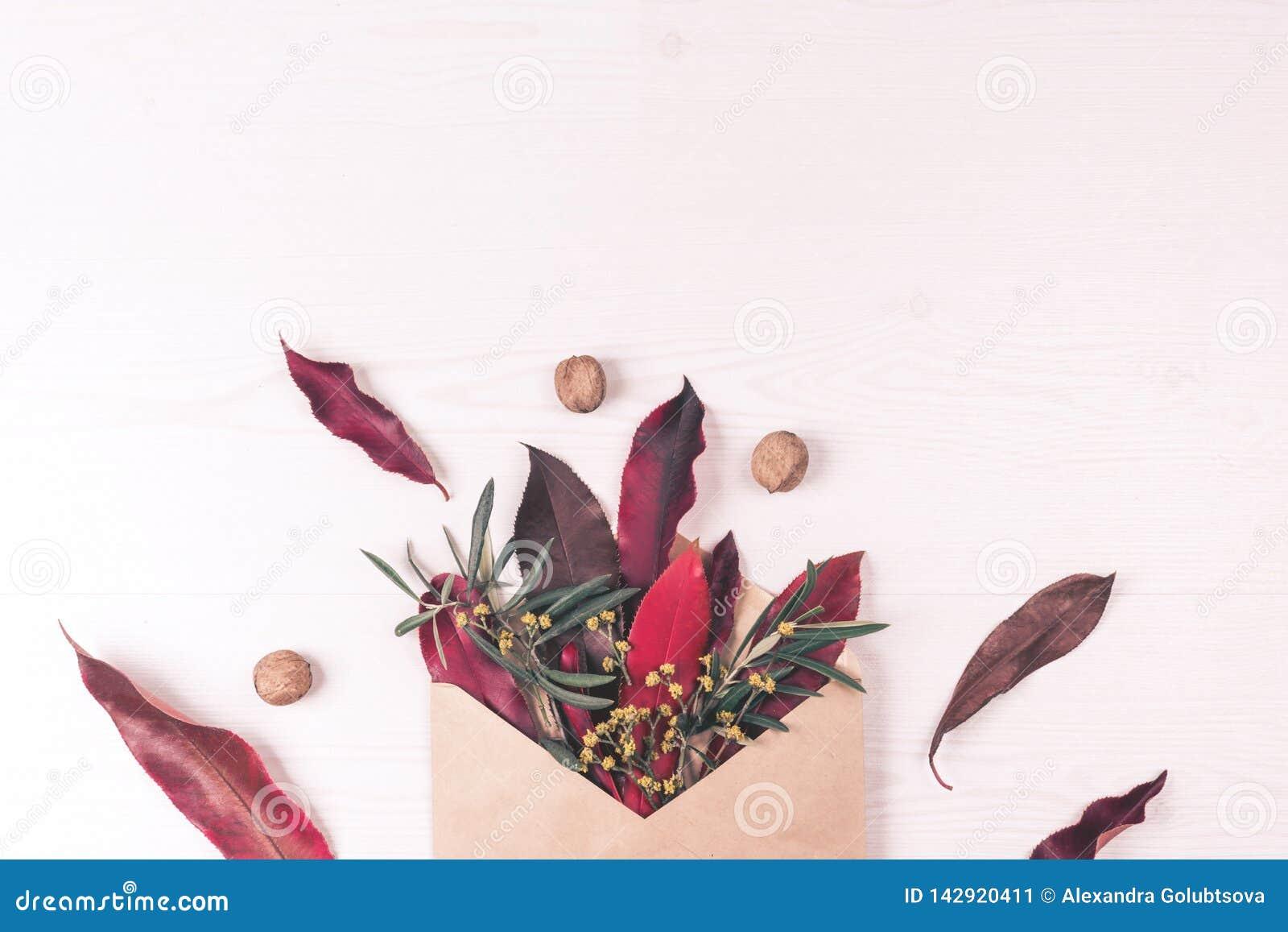 Enveloppe, feuilles, écrous et composition en fleur