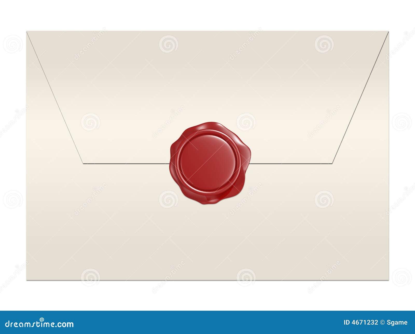 Enveloppe rouge de sceau de cire