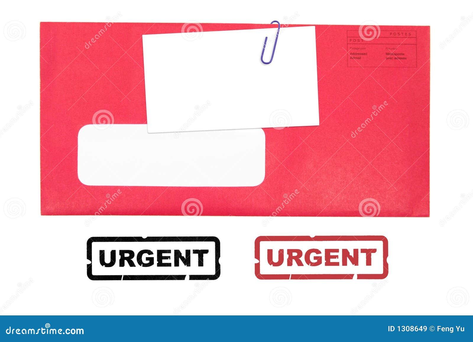 Enveloppe Rouge Avec La Carte De Visite Professionnelle Vierge Et Estampille Pressante